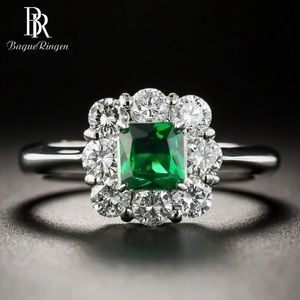 Vintage Style S925 Silver Emerald CZ Ring 8